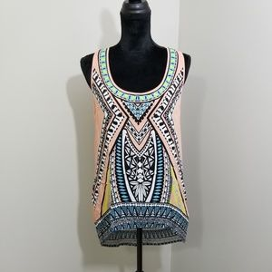Flying Tomato High Low Racer Abstract Tank SZ M